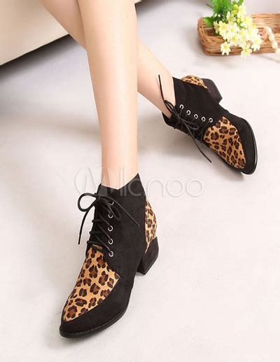 Boot Maroon Leopard burgundy leopard print grommets terry chunky ankle boots for milanoo