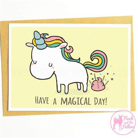 printable birthday cards etsy have a magical day funny unicorn birthday party