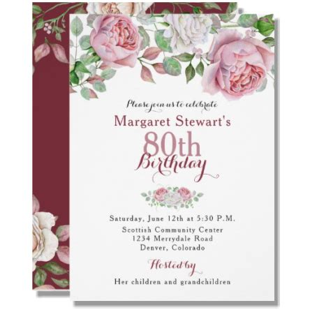 sle invitations for 80th birthday burgundy pink country 80th birthday invite budget