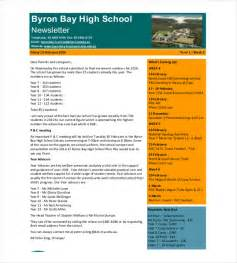 high school newsletter templates 9 school newsletter templates free sle exle