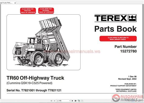 Terex Rigid Trucks Tr60 7821part Manual Auto Repair