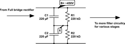 resistor capacitor voltage divider how does this power supply resistor capacitor divider filter work electrical engineering