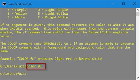 cmd colors change background text color of command prompt in windows
