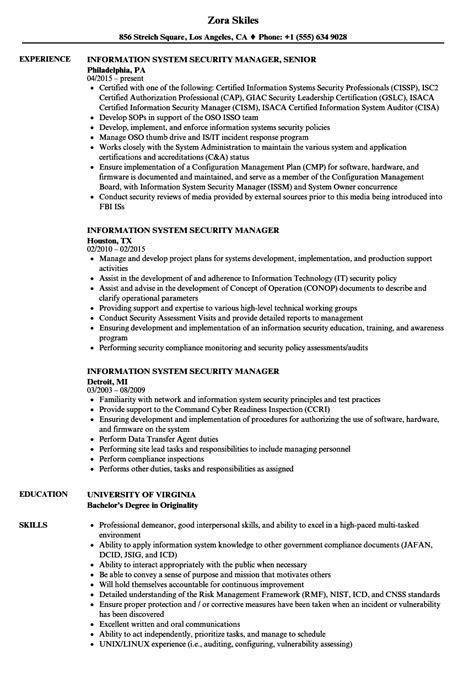 security manager resume format information system security manager resume sles velvet
