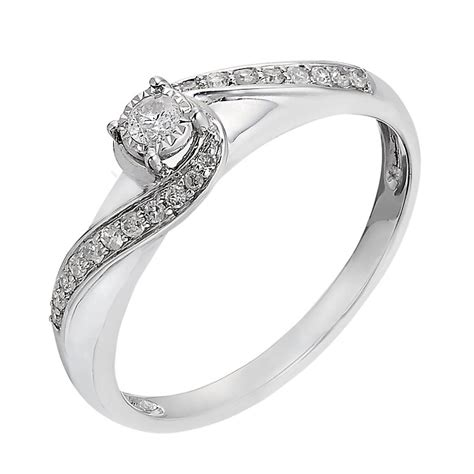 9ct white gold 17 point illusion solitaire ring