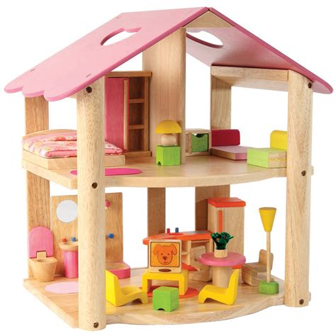 large wooden dolls house large wooden doll s house by me and freya notonthehighstreet com
