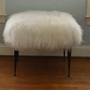 real natural mongolian lamb fur bench tibet stool new