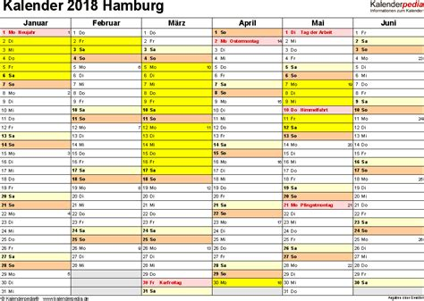 kalender 2018 hamburg ferien feiertage excel vorlagen