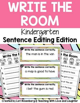 write about your room write the room sentence editing kindergarten edition tpt