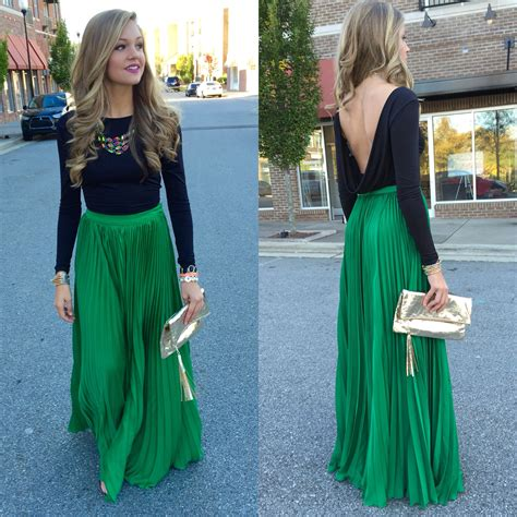 7 Favorite Winter Skirts by Green Pleated Maxi Skirt Swoon Swag