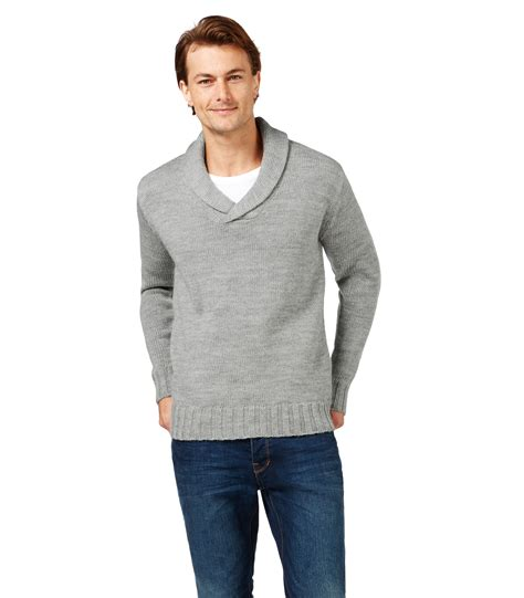 Collar Knitted Sweater woolovers mens wool chunky shawl collar sleeve knitted sweater top