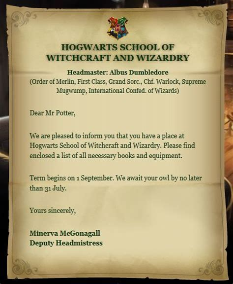 Acceptance Letter For Birthday Hogwarts Acceptance Letter Hogwarts 11th Birthday And Wizards