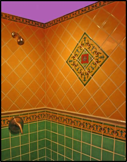 bright bold bathroom with mexican tile