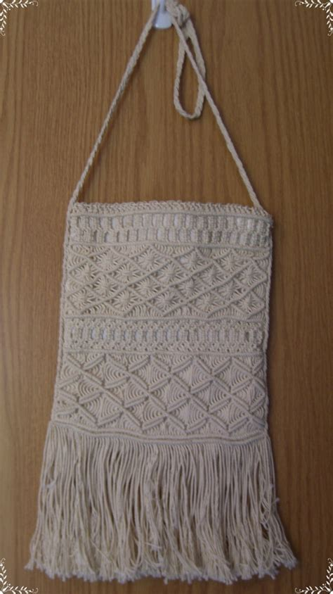 Crochet Macrame - macrame crochet purse with fringe with by willowsvintagecloset