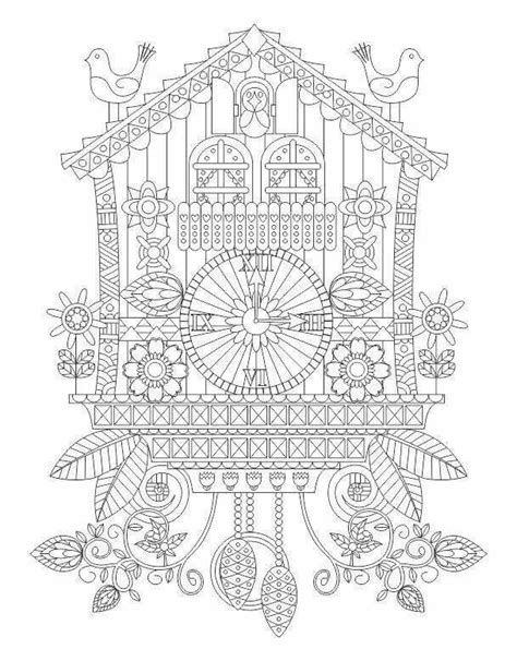 advanced coloring cuckoo clock page coloring pinterest