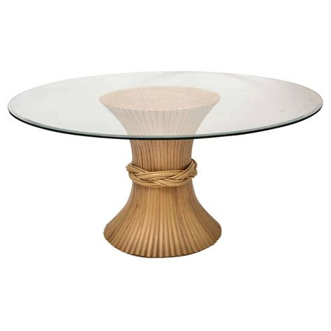 bamboo table l base bamboo base glass top center table at 1stdibs