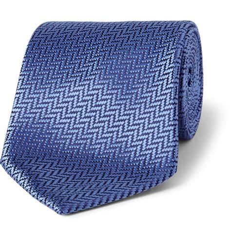 charvet herringbone silk tie in blue for lyst