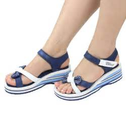 Comfortable Wedge Bridal Shoes Velcro Blue Women Sandals 2016