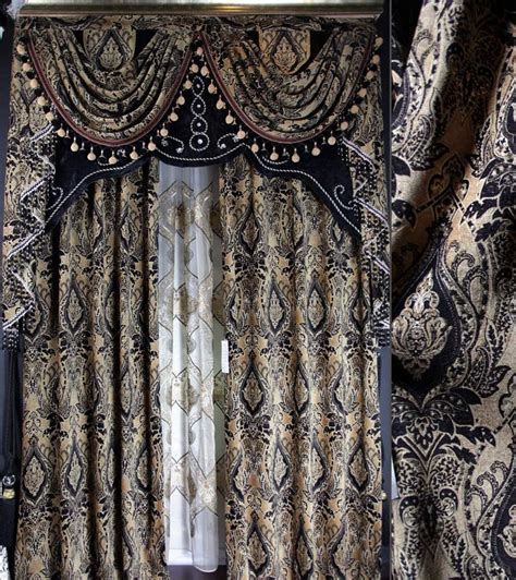 Black Lace Window Valance Aliexpress Buy Luxury Black Curtains Lace Velvet