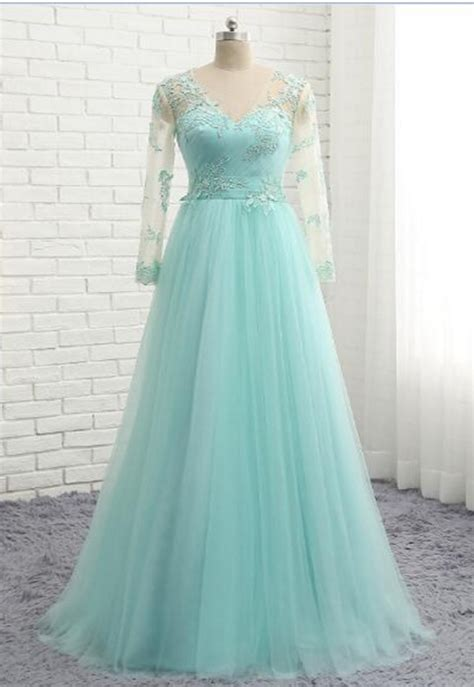 mint tulle simple  neck  size formal prom dress
