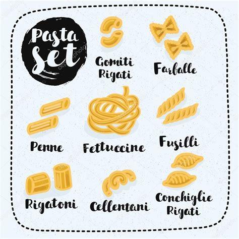diversi tipi di pasta diversi tipi di formati di pasta e disegnato a mano i nomi