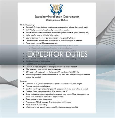 interior design business expeditor description