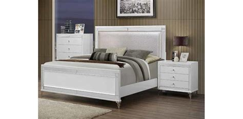 catalina bedroom set catalina metallic white bedroom set 5pc global furniture