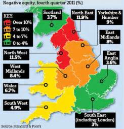map uk south divide the mortgage divide negative equity map of uk shows clear