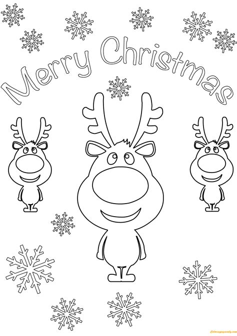 Reindeer Merry Christmas Cards Coloring Page Free Merry Card Coloring Pages