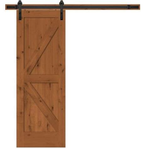 Steves Sons 30 In X 84 In Rustic 2 Panel Stained Barn Door Track System Home Depot