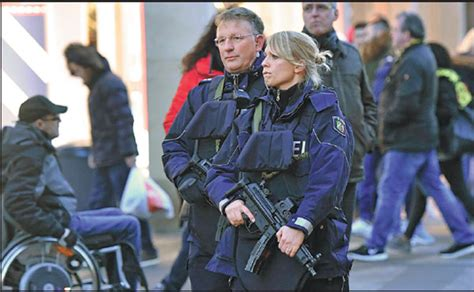 police officers patrol  dortmund germany  tuesday  truck ran   crowded market