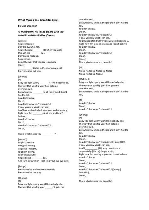 one direction you testo song worksheet form 1