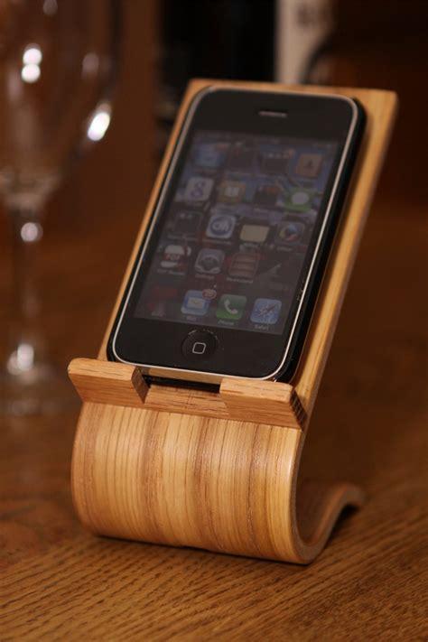 oak veneer smartphone desk stand iphone holder