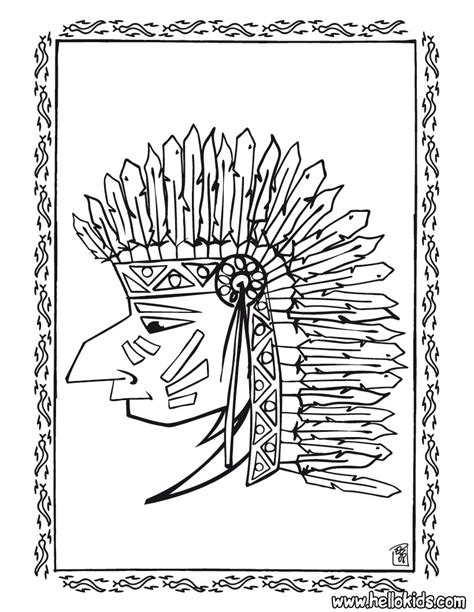 indian chief coloring page indian coloring pages indian chief portrait