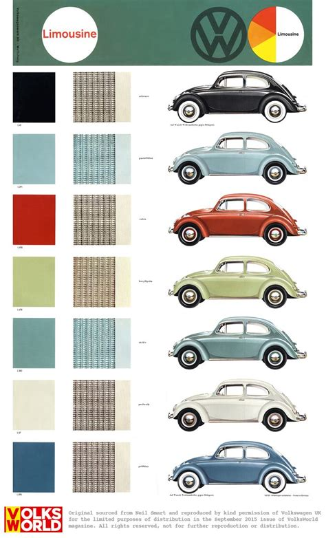 vw beetle colour charts vw beetle