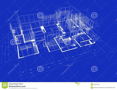 blueprint design 3d blueprint house stock photo image 15426780