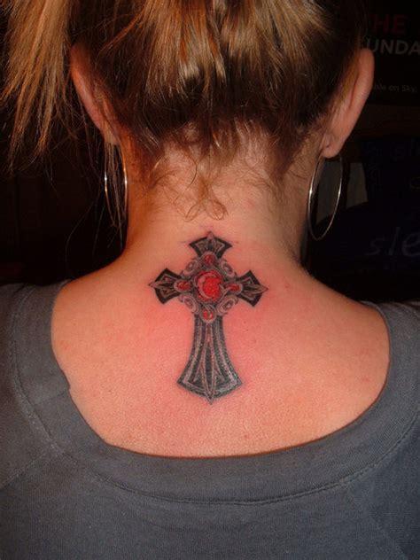 girly tattoo designs for back of neck feminine celtic cross on back of neck tattooshunt