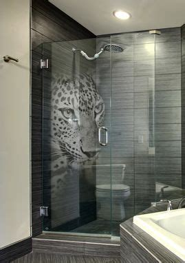 Etched Glass Shower Door Designs Custom Etched Glass Shower Door With Panther 3d Laser Design By Glassarium Custommade