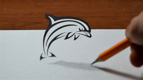 drawing an anamorphic dolphin in a tribal style trick