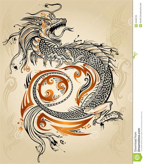 dragon tattoo vector illustration for sketch tribal vector stock vector