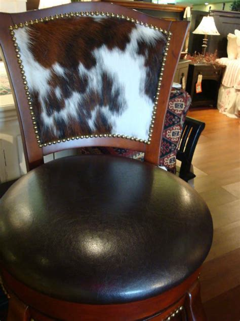 western cowhide leather swivel barstool cherry hair
