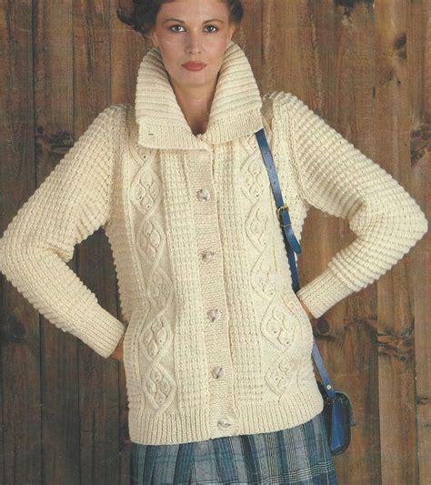 free knitting patterns for coats uk aran jacket with collar knitting pattern 34 38