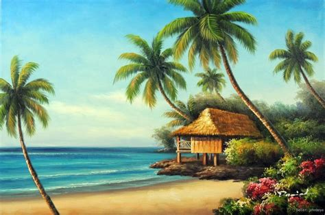 beach house paintings hawaiian school of fish cartoon beach house shore hawaii coast palm trees seascape