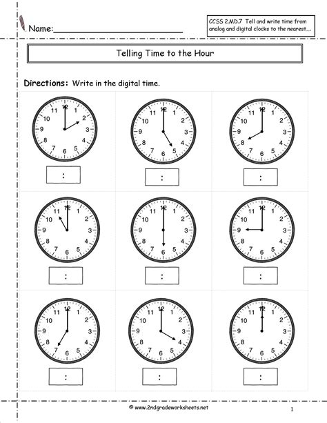 Time Worksheet by Telling And Writing Time Worksheets
