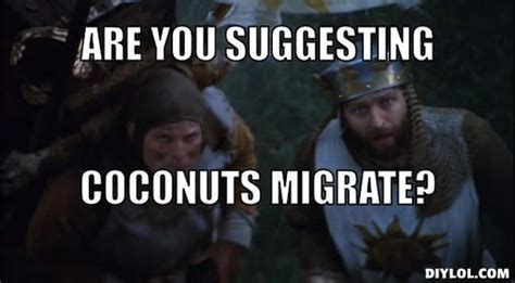 Monty Python Meme - quot not at all they could be carried what a swallow