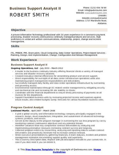 business analyst resume sles pdf business support analyst resume sles qwikresume