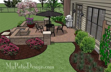 Diy Patio Designs Diy Square Patio Design With Seat Wall And Pit 320 Sq Ft Mypatiodesign