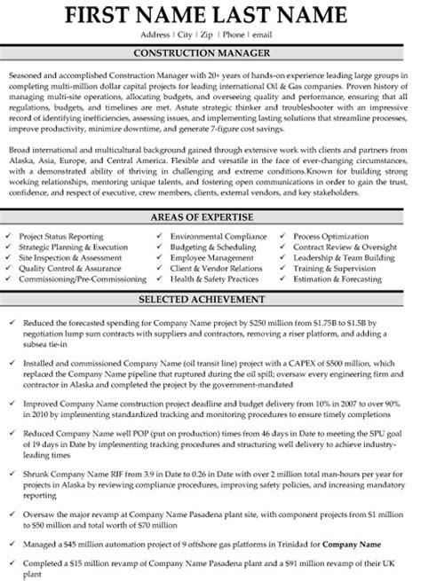 Top Construction Resume Templates Sles Construction Manager Resume Template