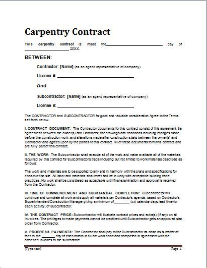 contract for work to be performed template sle carpentry contract template for ms word document hub