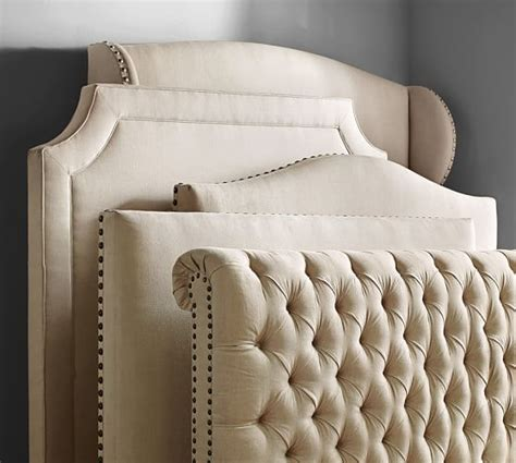 Bed With Padded Headboard by Chesterfield Upholstered Bed Headboard Pottery Barn